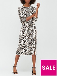v-by-very-animal-shirred-cuff-midi-dress-animal-print