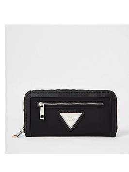 river-island-triangle-branding-zip-around-purse-black