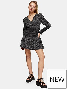 topshop-shirred-waist-mini-dress-black