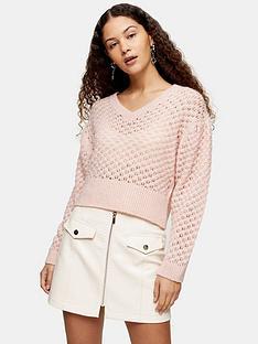 topshop-all-over-honeycomb-jumper-pink