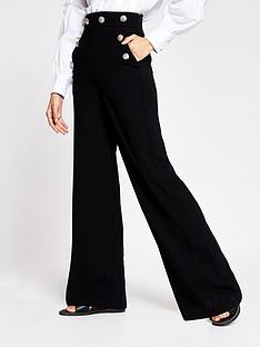 river-island-button-detail-wide-leg-trousers-black
