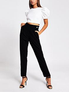 river-island-button-tab-pleated-peg-trousers-black