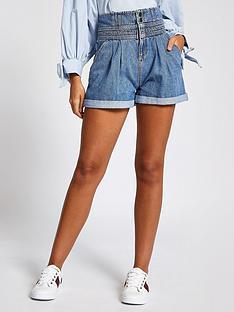 river-island-paperbag-detail-waist-denim-shorts-blue