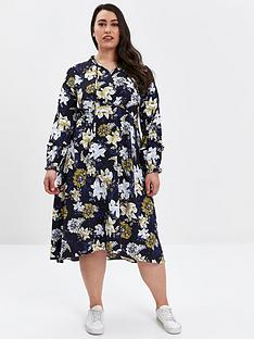 evans-navy-floral-print-tie-neck-dress