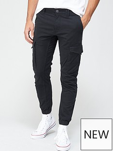 jack-jones-paul-skinny-fit-cuffed-cargo-trousers-black