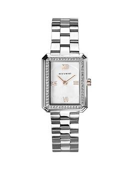 Accurist Silver And Rose Gold Detail Crystal Set Tank Dial Stainless Steel Bracelet Ladies Watch