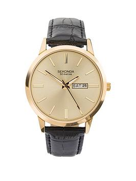 sekonda-sekonda-gold-sunray-daydate-dial-black-leather-strap-mens-watch