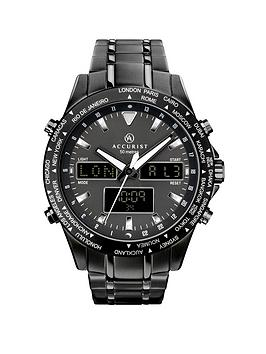 accurist-black-and-silver-detail-world-time-dial-black-stainless-steel-bracelet-mens-watch