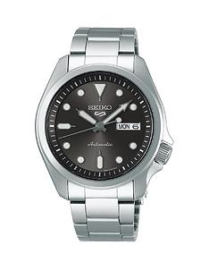 seiko-seiko-gunmetal-grey-sunray-daydate-automatic-dial-stainless-steel-bracelet-mens-watch