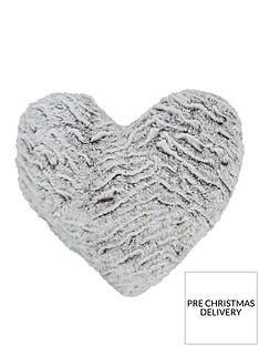 catherine-lansfield-faux-fur-wolf-heart-shaped-cushion