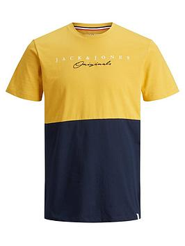 jack-jones-junior-boys-short-sleeve-colourblock-t-shirt-yellow