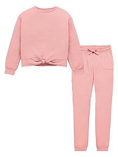 v-by-very-girls-ribbed-knot-detail-lounge-set-pink
