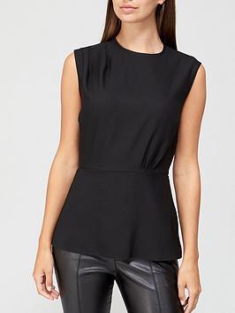 v-by-very-pleated-sleeveless-shell-top-black