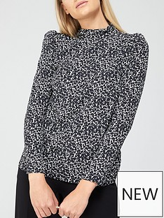 v-by-very-printed-high-neck-long-sleeve-shell-top-mono-print