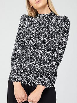 v-by-very-printed-high-neck-long-sleeve-shell-top-mono-print