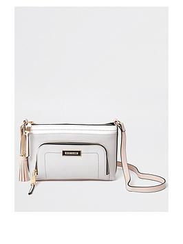 river-island-front-pocket-cross-body-bag-light-grey