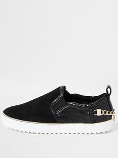 river-island-trim-detail-slip-on-plimsoll-black