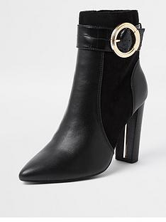 river-island-wide-fit-trim-detail-pointed-toe-smart-boot-black