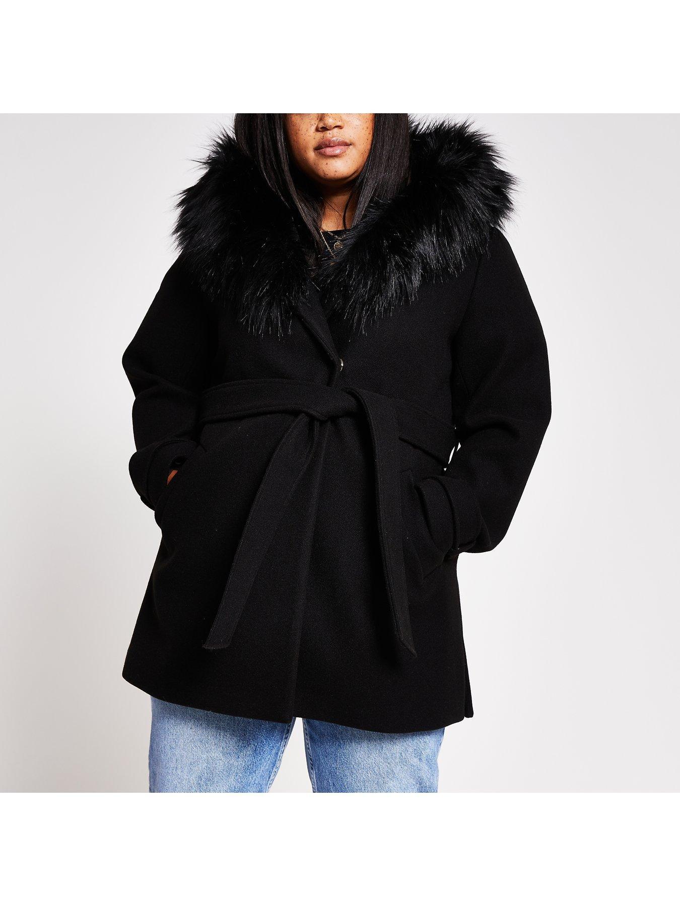 Plus Size Black Hooded Formal Coat