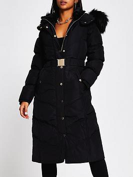 Ri Petite Longline Belted Padded Coat - Black