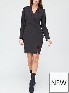 v-by-very-lace-trim-tailored-blazer-dress-black