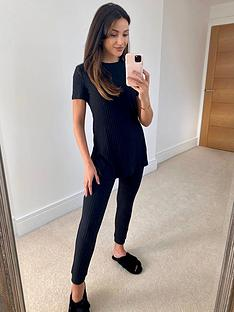 michelle-keegan-split-side-tee-rib-lounge-set-black