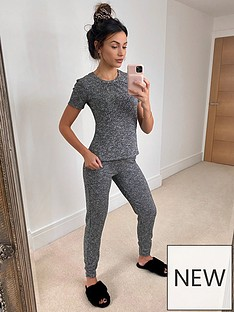 michelle-keegan-ribbed-t-shirt-lounge-set-grey-marl