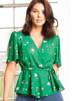 pour-moi-tie-detail-woven-wrap-top-green-floral