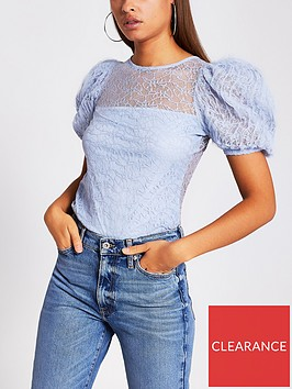 river-island-lace-puff-sleeve-top-blue