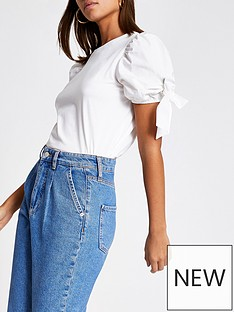 river-island-puff-eyelet-tie-sleeve-tee-white