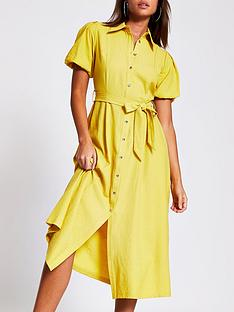 river-island-puff-sleeve-midi-shirt-dress-yellow