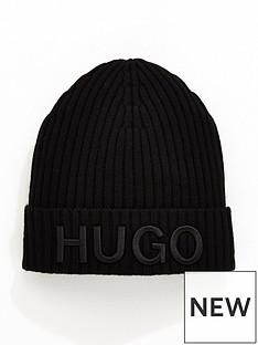 hugo-ribbed-embroidered-logo-beanie-black
