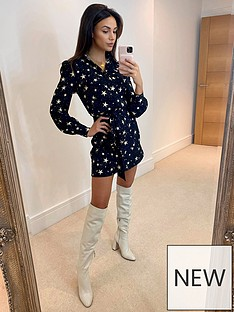 michelle-keegan-mini-shirtnbspdress-star-print