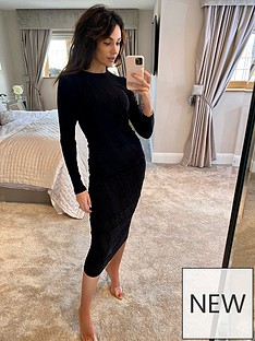 michelle-keegan-ruched-lurex-bodycon-midi-dress-black