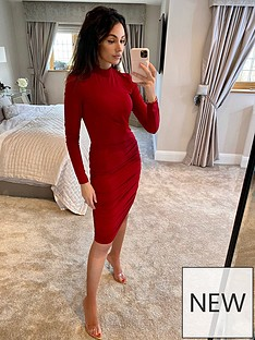 michelle-keegan-high-neck-ruched-stretch-mini-dress-red