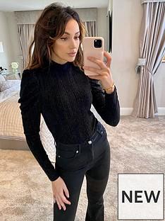 michelle-keegan-high-neck-lurex-bodysuit-black