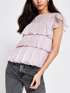 river-island-metallic-thread-tiered-top-pink