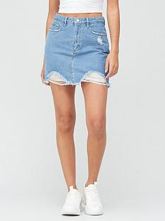 missguided-missguidednbspdistressed-super-stretch-denim-skirt-light-blue