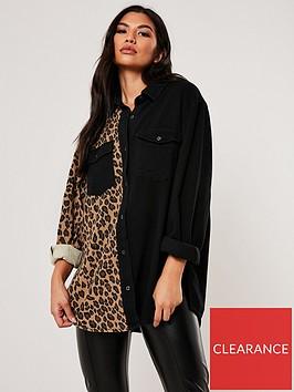missguided-missguided-superoverised-leopard-panel-shirt-black