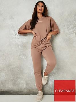 missguided-missguided-oversized-t-shirt-jogger-set-mocha