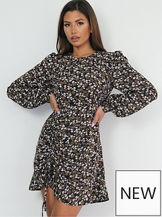 missguided-ruched-front-frill-hem-dress