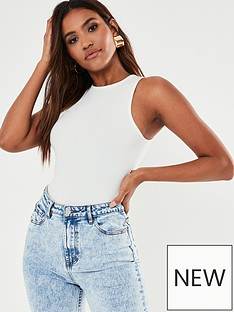 missguided-missguided-ribbed-high-neck-race-back-bodysuit-white