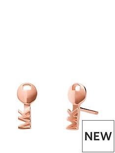 michael-kors-rose-tone-mk-stud-earrings