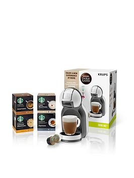 Nescafe Dolce Gusto Mini Me Bundle Automatic Coffee Machine With Starbucks Coffee By Krups - Arctic Grey And Black Anthracite