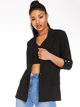 quiz-quiz-black-scuba-crepe-gold-button-blazer-jacket