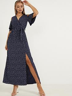 quiz-bubble-crepe-cold-shoulder-maxi-dress-navywhite