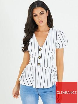 quiz-white-and-navy-stripe-peplum-top
