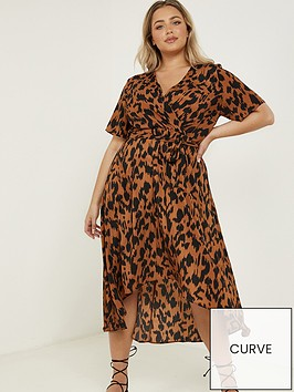 quiz-curve-animal-print-short-sleeve-wrap-dress-brown