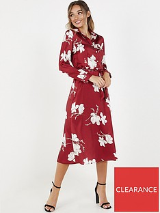 quiz-floral-satin-shirt-dress-wine