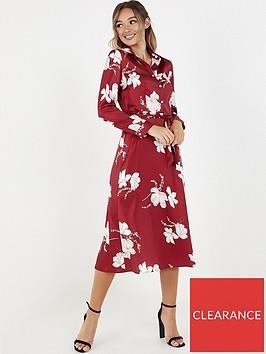 quiz-floral-satin-shirt-dress-wine